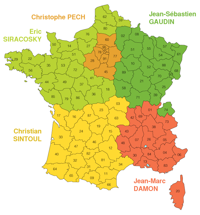Carte de France Commerciaux Amphora